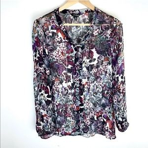 Lucky Brand Sheer Floral Long Sleeve Top Tie-Up